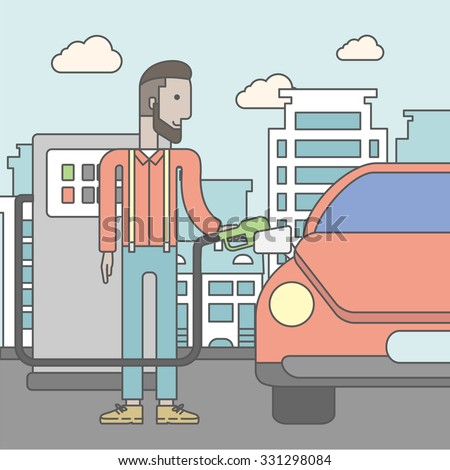 An african-american man filling up fuel into the car on city background. Vector line design illustration. Square layout.