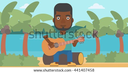 An african-american man sitting on a log and playing a guitar on the background of tropical beach with palm trees and the sea vector flat design illustration. Horizontal layout. - stock vector