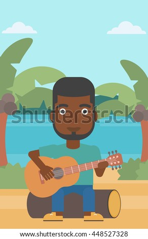 An african-american man sitting on a log and playing a guitar on the background of tropical beach with palm trees and the sea vector flat design illustration. Vertical layout. - stock vector