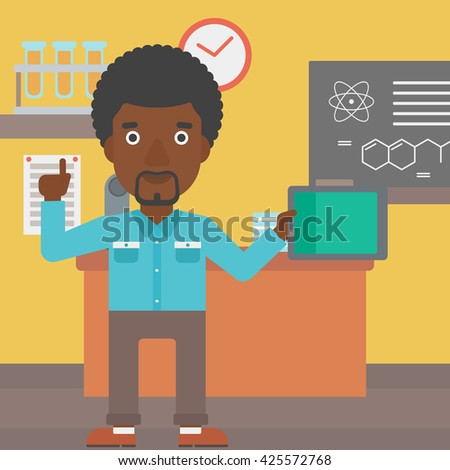 An african-american man standing with a tablet computer and pointing his forefinger up on the background of chemistry class vector flat design illustration. Square layout. - stock vector