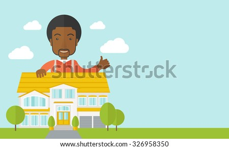 An african-american real estate agent standing behind the house with thumbs up vector flat design illustration. Horizontal layout with a text space. - stock vector