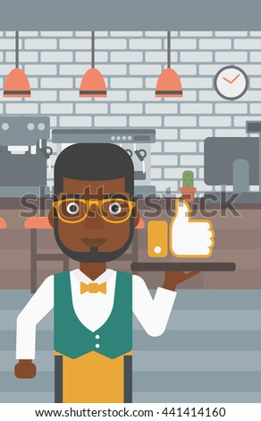 An african-american waiter carrying a tray with like button on a cafe background vector flat design illustration. Vertical layout. - stock vector