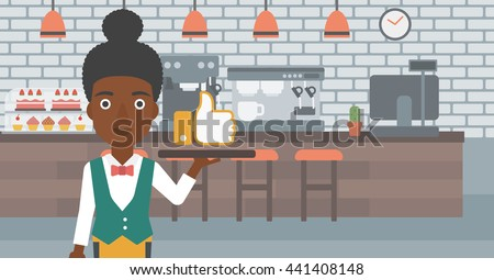 An african-american waitress carrying a tray with like button on a cafe background vector flat design illustration. Horizontal layout. - stock vector
