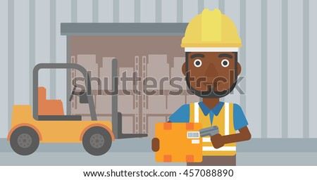 An african-american warehouse worker scanning barcode on box. Warehouse worker checking barcode of box with a scanner. Man in hard hat with scanner. Vector flat design illustration. Horizontal layout. - stock vector