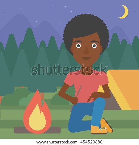 An african-american woman kindling campfire on the background of camping site with tent. Tourist relaxing near campfire. Woman sitting near campfire. Vector flat design illustration. Square layout. - stock vector