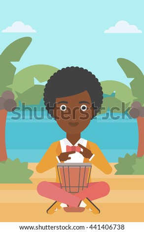 An african-american woman playing tomtom on the background of tropical beach with palm trees and the sea vector flat design illustration. Vertical layout. - stock vector
