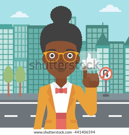 An african-american woman pressing like button on the background of apartment vector flat design illustration. Square layout. - stock vector