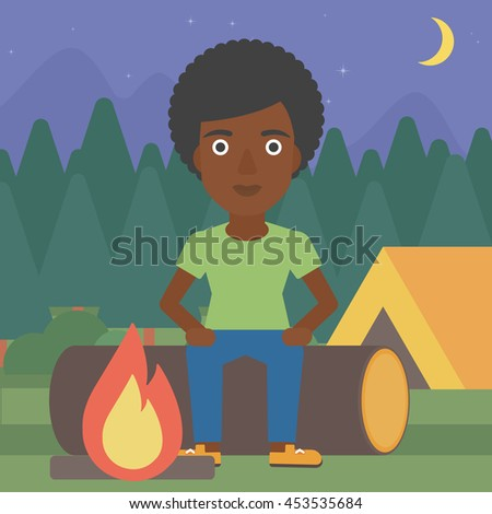 An african-american woman sitting on a log near a fire on a background of camping site with tent. Woman sitting near a campfire at a campsite. Vector flat design illustration. Square layout. - stock vector