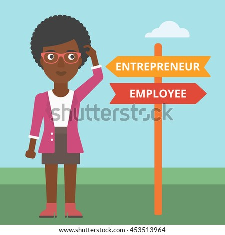 An african-american woman standing at road sign with two career pathways. Woman making a decision of her career pathway. Vector flat design illustration. Square layout. - stock vector
