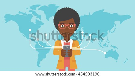 An african-american young business woman holding smartphone connected with the whole world. Concept of global business. Vector flat design illustration. Horizontal layout.