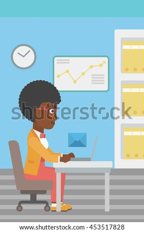 An african-american young business woman working on her laptop in office and receiving or sending email. Business technology, email concept. Vector flat design illustration. Vertical layout. - stock vector