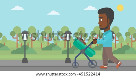 An african-american young father walking with baby stroller in the park. Father walking with his baby in stroller. Father pushing baby stroller. Vector flat design illustration. Horizontal layout. - stock vector
