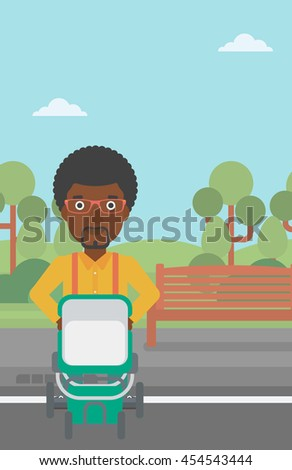 An african-american young father walking with baby stroller in the park. Father walking with his baby in stroller. Father pushing baby stroller. Vector flat design illustration. Vertical layout. - stock vector