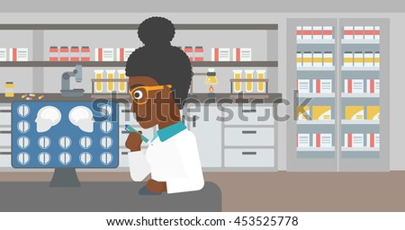 An african-american young female doctor looking at magnetic resonance images of the brain on a computer screen at the medical office. Vector flat design illustration. Horizontal layout.