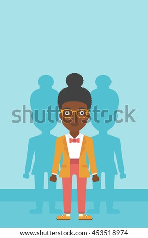 An african-american young woman standing with some shadows behind her. Candidat for a position stand out from crowd. Concept of staff recruitment. Vector flat design illustration. Vertical layout. - stock vector