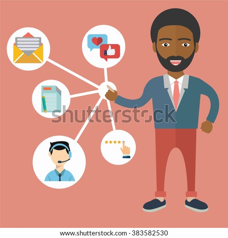 An African businessman. Customer Relationship Management. System for managing interactions with current and future customers - vector illustration. - stock vector