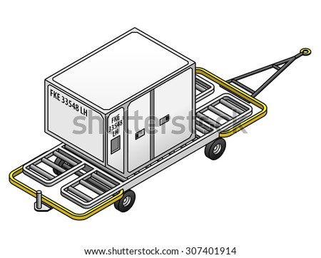 An air cargo container for loading into airplane cargo holds on a trolley. - stock vector