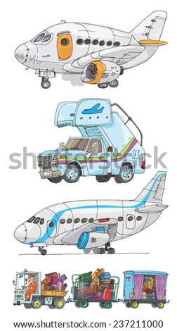 an airport set - cartoon - stock vector