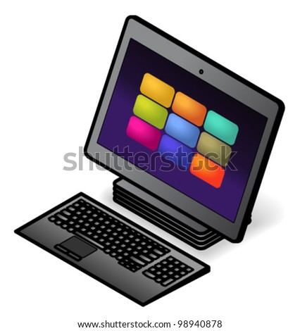 An all-in-one desktop touchscreen computer with a compact wireless keyboard.