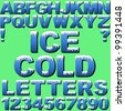 An Alphabet Set of Cold Letters and Numbers with Snow and Ice. New EPS 10 version now available see portfolio. - stock photo