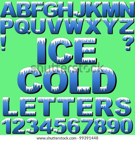 An Alphabet Set of Cold Letters and Numbers with Snow and Ice. New EPS 10 version now available see portfolio. - stock vector