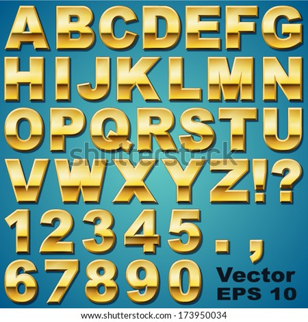 An Alphabet Sit of Shiny Gold Metal Letters and Numbers - stock vector