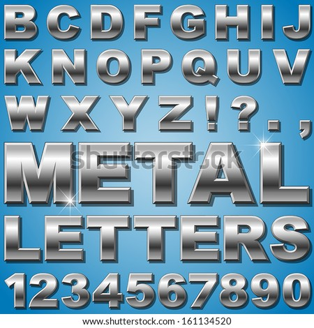 An Alphabet Sit of Shiny Metal Letters and Numbers - stock vector