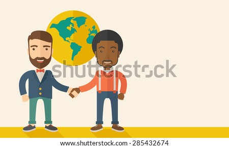 An american and black guy happily handshaking with their international or global world corporation business. Partnership concept. A Contemporary style with pastel palette, soft beige tinted background - stock vector