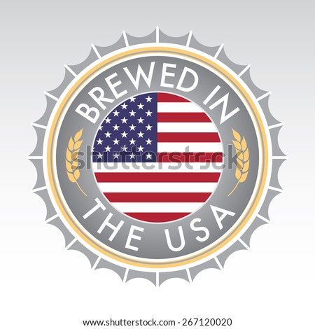 An American beer cap crest in vector format. The bottle cap features the American flag flanked by two golden wheat icons. - stock vector
