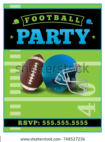 American Football Party Flyer Template Illustration Stock Photo