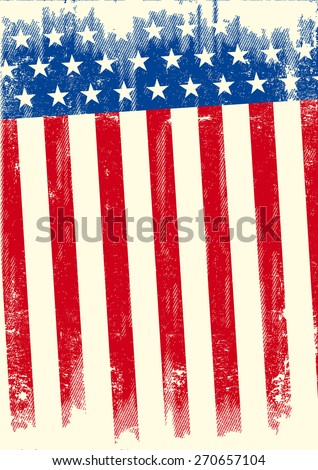 An american grunge flag for a background of a poster. - stock vector