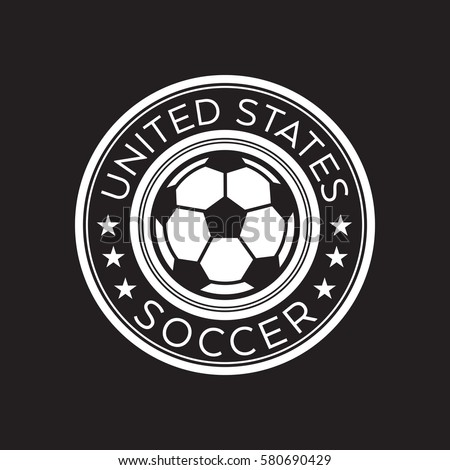 An American Soccer Crest In Vector Format. This Round Shield Features  Stars, Text That