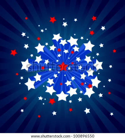 An American starburst background - stock vector