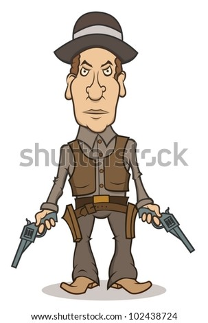 An angry cartoon cowboy with two guns