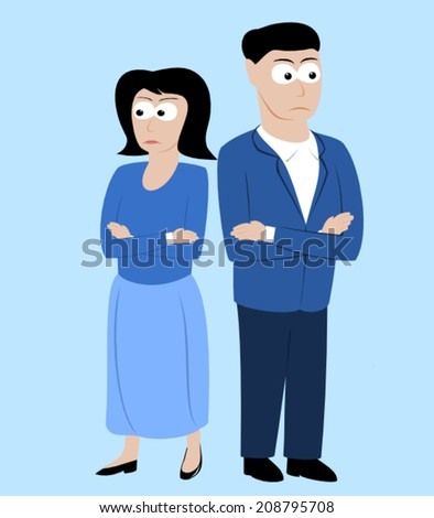 An angry couple standing back to back - stock vector