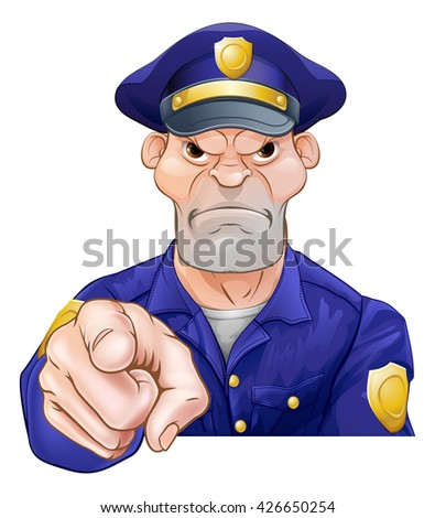 An angry looking cartoon police officer pointing