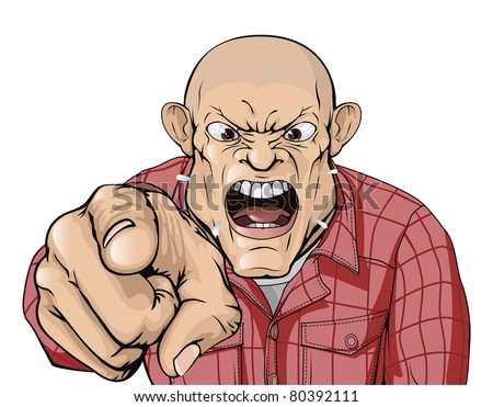 An angry man with shaved head shouting and pointing - stock vector