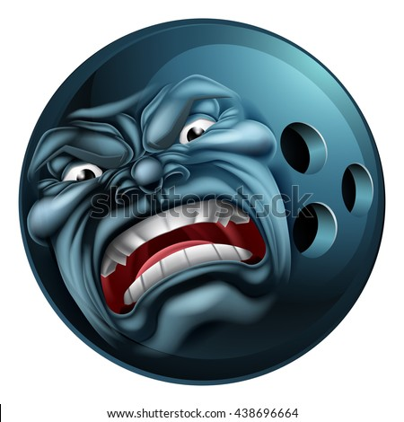 An angry mean looking bowling ball sports cartoon mascot character - stock vector