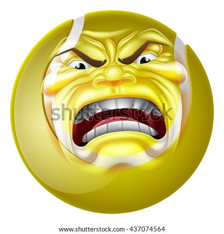 An angry mean looking tennis ball sports cartoon mascot character - stock vector