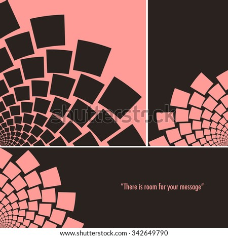 An arc of a stylized flower, or a whirlpool of flying paper, set in 3 different formats, square, bookmark, and banner, in a black and pink palette. - stock vector
