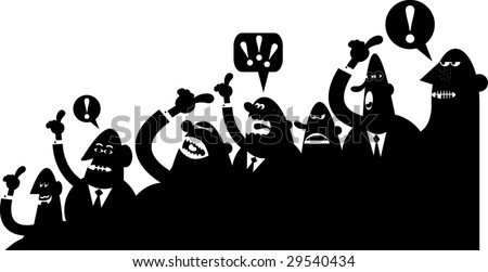 An arguing silhouette crowd.