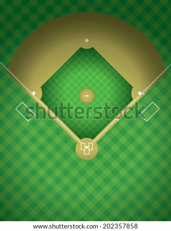 An arial view of a baseball field illustration. Vector EPS contains transparencies. - stock vector