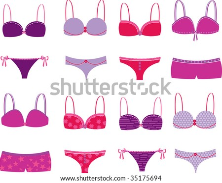 An array of panties in solids and patterns. Coordinated for mix-and-match. Use together or separate to suit your design, fully editable vector illustration.