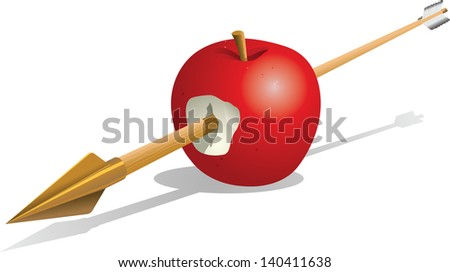 An arrow has been shot through the middle of a red apple. - stock vector