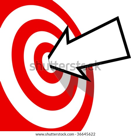 An arrow with your copyspace hits the bulls eye of a red target dead center. - stock vector