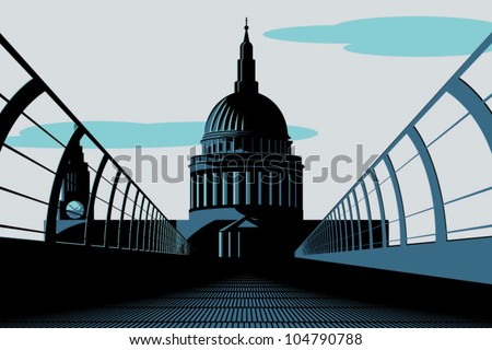 An Art Deco style illustration of St Paul's Cathedral in London as viewed from the Millennium Bridge. - stock vector