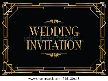 an art deco style invitation card - stock vector
