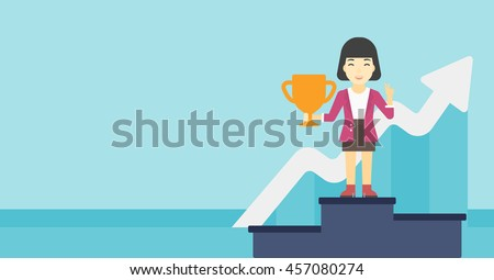 An asian business woman standing on a pedestal with winner cup. Business woman celebrating her business award. Business award concept. Vector flat design illustration. Horizontal layout.