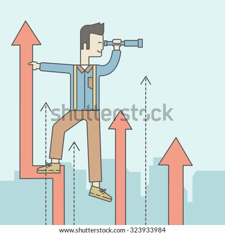 An asian businessman standing on the top of graph arrow looking through telescope. Business development concept.  Vector line design illustration. Square layout. - stock vector