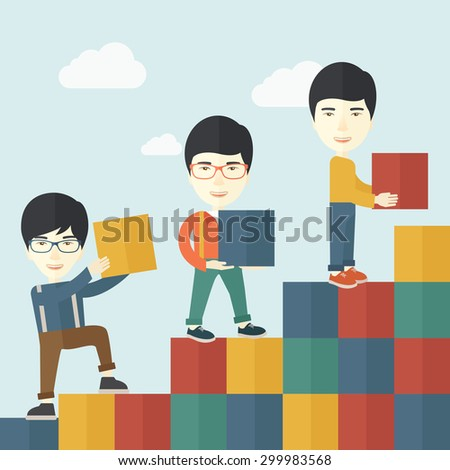 An asian Businessmen are happy with the graph shows that more and more profits, increased in sales higher income to receive. Winner concept. A contemporary style with pastel palette soft blue tinted - stock vector